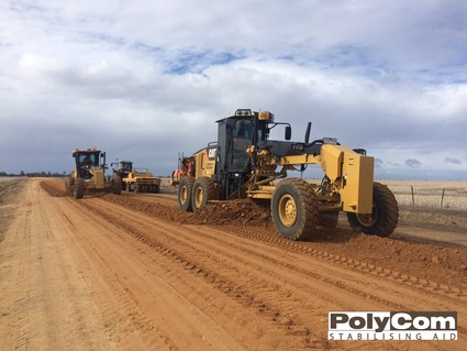 2 PolyCom stabilising local pit gravel high clay content unsealed road