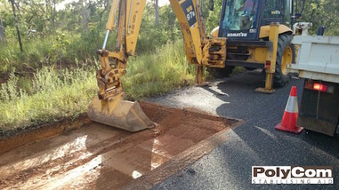 PolyCom soil stabilising deep patch road repair